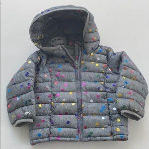 Baby Gap Grey and Metallic Polka Dot Puffy Jacket